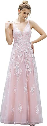 Ever-pretty Womens V Neck Floor Length Elegant Long Tulle with Appliques Prom Dresses Pink 16UK