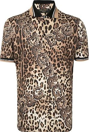 Dolce & Gabbana Camisa polo com estampa de leopardo - Marrom