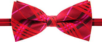 Retreez Stylish Tartan Plaid Check Woven Microfiber Pre-tied Bow Tie (5) - Red Wine