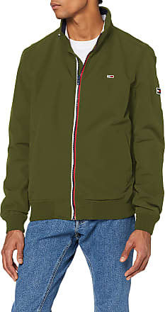 Tommy Jeans Mens TJM Essential Bomber Jacket Sports, Green (Green Lc6), Large (Size:L)
