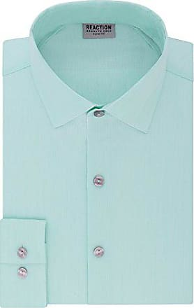Kenneth Cole Reaction Mens Dress Shirt Technicole Slim Fit Stretch Solid, sea Spray, 16.5 Neck 32-33 Sleeve