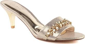 Unze Unze Women Hailee Shimmery Formal Stone Accented Evening Open Toe Slip On Kitten Heel Sandals UK Size 3-8 - 750-10B-1 Gold