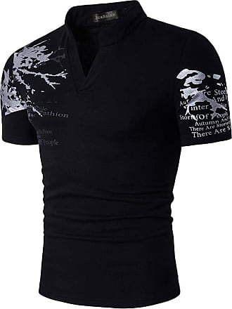 Jeansian Mens Fashion V-Neck Henley Stand Collar Short Sleeve Shirt T-Shirt Tops JZA100 Black XL