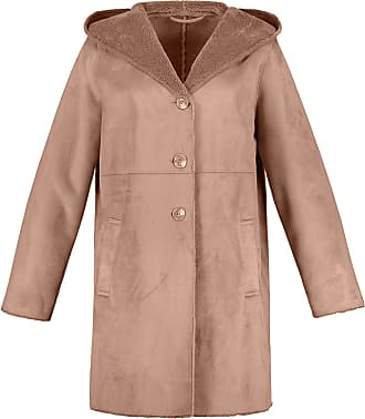 Ulla Popken Womens Plus Size Leather Look Fur Lined Coat Beige Rose 20/22 718535 22-46+