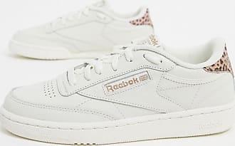 Reebok Club C 85 - Weiße Sneaker mit Leopardenmuster in Rosa an der Ferse