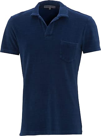 Orlebar Brown Mens Terry Indigo Towelling Cotton Polo Shirt XL Indigo WASH