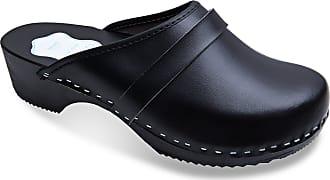 FUTURO FASHION Womens Healthy Natural Genuine Leather Wooden Sole Plain Clogs White Black Unisex Colours Sizes 3-11 UK