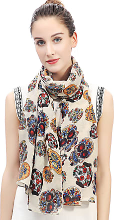 Lina & Lily Day of the Dead Sugar Skull Print Large Scarf Shawl Lightweight (Beige)(Size: 180 X 90 cm)