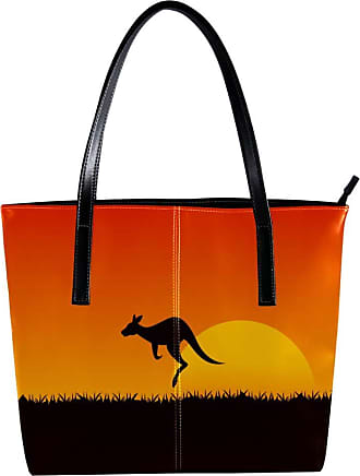 Nananma Womens Bag Shoulder Tote handbag with Outstanding Kangaroo with Sunset Print Zipper Purse PU Leather Top-handle Zip Bags