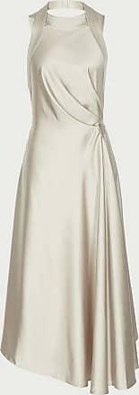 Reiss Rita - Halterneck Satin Midi Dress in Silver, Womens, Size 16