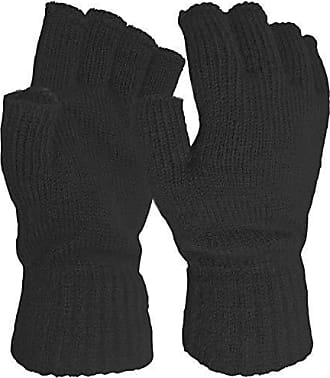3782ef18f32db0 Teddyts Damen super weiche Warm Feinstrick Thermische Fingerlose Handschuhe  Winter-BLACK