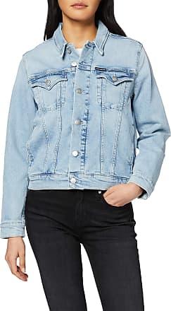 Calvin Klein Jeans Womens Foundation Trucker Denim Jacket, Blue (DA101 Bleached Blue 1AA), 12 (Size:L)