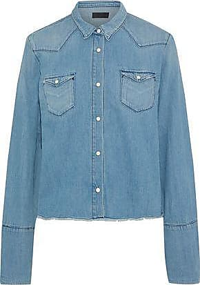 ff65a95a3bac Rta Rta Woman Ashley Frayed Denim Shirt Light Denim Size XXS