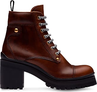 Miu Miu Ankle boot de couro - Marrom
