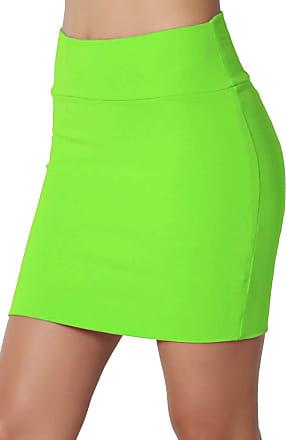 The Celebrity Fashion New Womens Jersey High Waist Bodycon Mini Skirt Elasticated Short Skirts UK 8-14 Neon Green