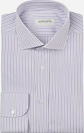 Apposta Shirt stripes violet 100% pure cotton poplin, collar style updated spread with short points