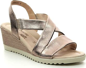 Remonte D3446-90 Bronze Leather Wedge Slip On Sandal 7.5