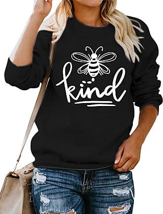 Dresswel Women Bee Kind Sweatshirt Pullover Crew Neck Long Sleeve Tops Bee Graphic Jumpers Blouse Black