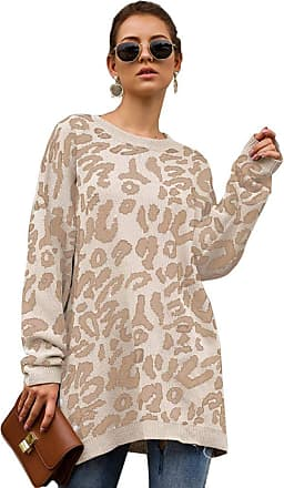 YYW Women Oversized Leopard Print Sweater Long Sleeve Casual Camouflage Print Knitted Jumper Pullover Sweatshirts Tops (White,XL)