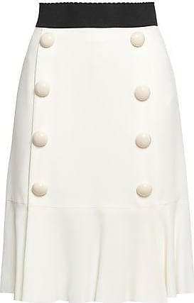 Dolce & Gabbana Dolce & Gabbana Woman Pleated Button-embellished Crepe Skirt White Size 46