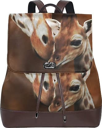 Ahomy Women Leather Backpack Giraffe Adult And Baby Painting Waterproof Anti-theft Fashion School Backpack Casual Daypacks
