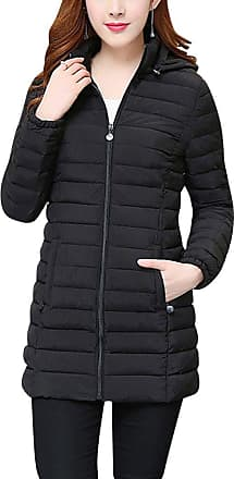 ZhuiKun Womens Hooded Padded Puffer Parka Ladies Winter Quilted Bubble Jacket Coat Top Black XL
