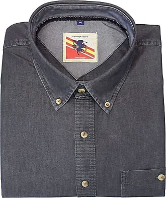 Espionage Premium Cotton Peached Finish Denim Shirt (187) in Black in 6XL