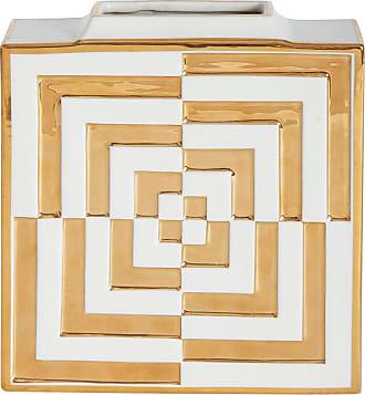 Jonathan Adler Futura Op Art Square Vase - Gold