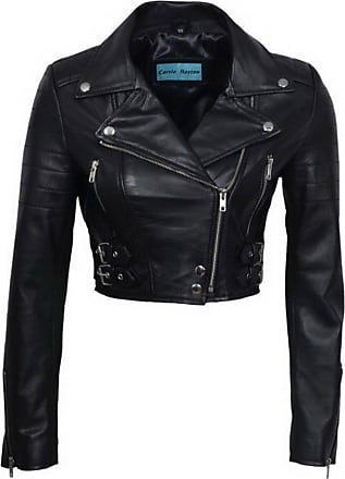 Infinity Womens Chic Black Cropped Leather Biker Jacket 10