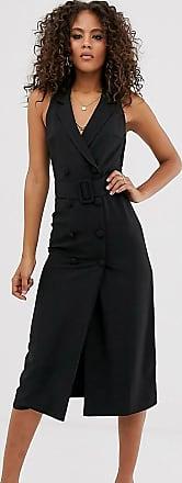 Asos Tall ASOS DESIGN Tall sleeveless tux midi dress-Black