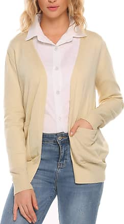Zeagoo Women Lightweight Knit Boyfriend Sweater Cardigan with Pockets Cream