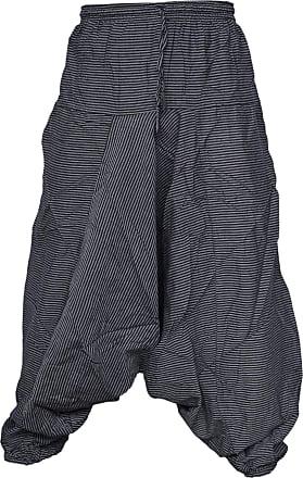 Gheri Light Summer Cotton Pin Striped Harem Trousers Black SM