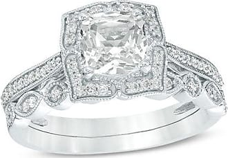 Zales Cushion-Cut Lab-Created White Sapphire and 1/4 CT. T.w. Diamond Petal Frame Vintage-Style Bridal Set in Sterling Silver