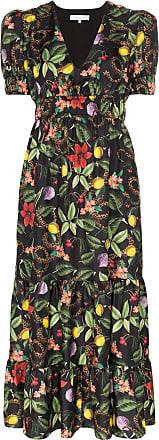 Borgo De Nor Vestido longo com estampa floral - Tropical Garden Black