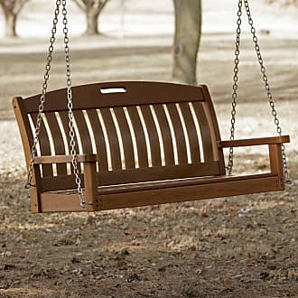 POLYWOOD Outdoor POLYWOOD Nautical 4 ft. Recycled Plastic Porch Swing - Mahogany - NS48MA