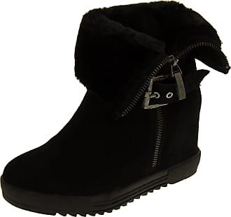 Footwear Studio Keddo Womens Black Faux Fur Lined Wedge Heel Ankle Boots UK 8