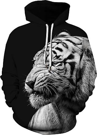 Ocean Plus Mens Hoodie Long Sleeve Pullover Wolf Tiger Hoody with Kangaroo Pocket (XXL/3XL (Chest: 126-146CM), Tiger on Black)
