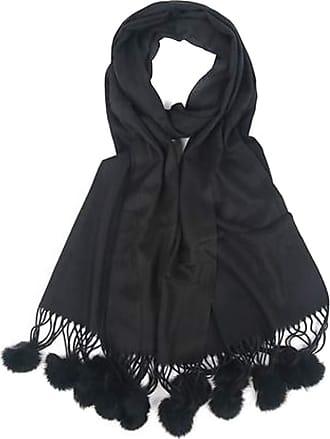 Your Dezire Plain Pasmina Pom Pom Scarve Large Shawl Winter Scarf Celebrity Style Wraps (Black)
