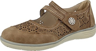 Cushion-Walk Ladies Faux Leather Laser Cut Flower Print Mary Jane Touch Close Strap Flat Loafer Shoes Size 3-8 (UK 5/ EU 38, Beige)
