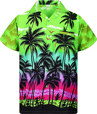V.H.O. Funky Hawaiian Shirt, Shortsleeve, Beach, Green, XXL