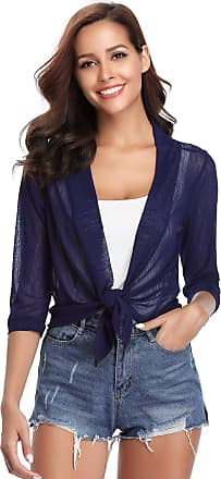 iClosam Womens Casual Tie Knot Cardigan 3/4 Sleeve Sheer Shrug Open Front Lightweight Short Cropped Bolero Cardigan Dark Blue