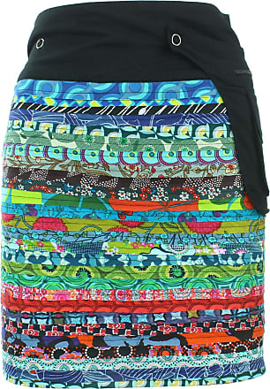 Loud Elephant Reversible Popper Wrap Knee Length Skirt - Multi Patch Strips/Psychedelic Snakeskin