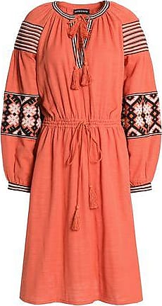 a0b3566a57936 Antik Batik Antik Batik Woman Mobi Embroidered Cotton-gauze Dress Coral Size  38