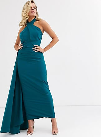 Yaura halterneck maxi dress with asymmetric train in teal-Blue