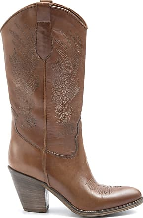 Zoe Texan Boots with Brown Heel in Embroidered Leather - West 01 - Size Brown Size: 8 UK