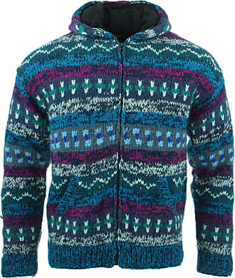 Loud Elephant Chunky Wool Knit Abstract Pattern Hooded Cardigan Jacket - Blue (Large)