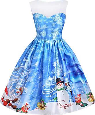 NPRADLA 2020 Women Fashion Lace Snowman Print Sleeveless High Waist Dress Christmas Dress Blue