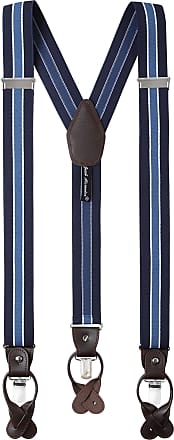 Jacob Alexander Mens Stripes Y-Back Suspenders Braces Convertible Leather Ends Clips - Navy White Blue