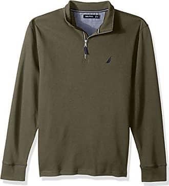 Nautica Mens Long Sleeve Half Zip Mock Neck Luxe Sweatshirt, Hillside Olive, Medium