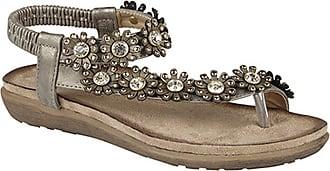 Boulevard Cipriata Womens/Ladies Salva Toe Post Flower Design Sling Back Sandals (7 UK) (Pewter)